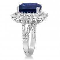 Cushion Spinel & Round Diamond Cocktail Ring 14k White Gold (7.95 ct)