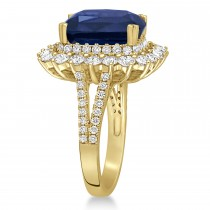 Cushion Spinel & Round Diamond Cocktail Ring 14k Yellow Gold (7.95 ct)