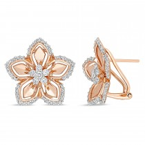 Round Diamond Cuff Earrings 14k Rose Gold (0.875 ct)