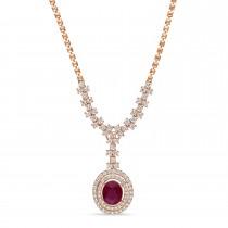 Oval Ruby & Round Diamond Pendant Necklace 14k Rose Gold (6.50 ct )