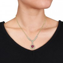 Oval Ruby & Round Diamond Pendant Necklace 14k Yellow Gold (6.50 ct )