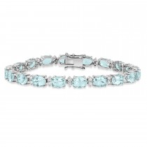 Oval Aquamarine & Round Diamond Bracelet 18k White Gold (13.10 ct)