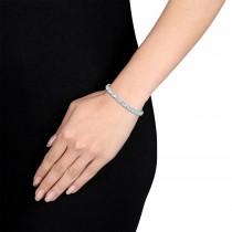 Oval Aquamarine & Round Diamond Bracelet 18k White Gold (13.10 ct)