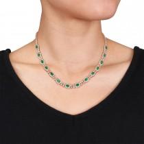 Oval Emerald & Diamond Necklace 18k Rose Gold (10.30 ct)