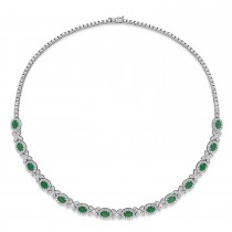 Oval Emerald & Diamond Necklace 18k White Gold (10.30 ct)