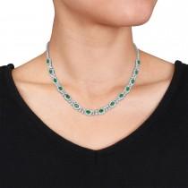 Oval Emerald & Diamond Necklace 18k White Gold (10.30 ct)