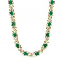 Oval Emerald & Diamond Necklace 18k Yellow Gold (10.30 ct)