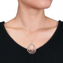 Round Diamond Loop Pendant Necklace 18k Rose Gold (0.75 ct)