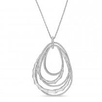 Round Diamond Loop Pendant Necklace 18k White Gold (0.75 ct)