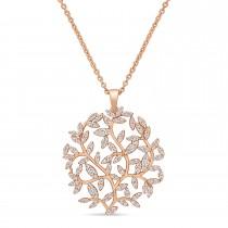 Round Diamond Branch Pendant Necklace 18k Rose Gold (0.50 ct)