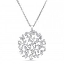 Round Diamond Branch Pendant Necklace 18k White Gold (0.50 ct)