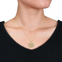 Round Diamond Branch Pendant Necklace 18k Yellow Gold (0.50 ct)