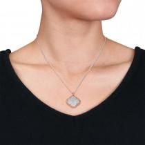 Round Diamond Design Pattern Pendant Necklace 18k Rose Gold (1.05 ct)