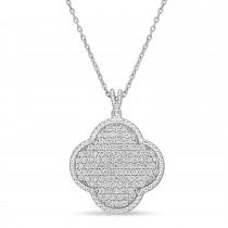Round Diamond Design Pattern Pendant Necklace 18k White Gold (1.05 ct)
