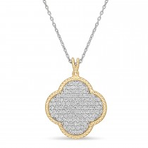 Round Diamond Design Pattern Pendant Necklace 18k Yellow Gold (1.05 ct)