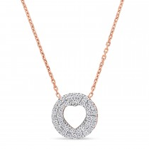 Round Diamond Inverted Heart Pendant Necklace 18k Rose Gold (0.30 ct)