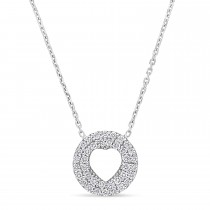 Round Diamond Inverted Heart Pendant Necklace 18k White Gold (0.30 ct)