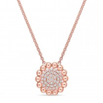 Round Diamond Loop Pendant Necklace 18k Rose Gold (0.20 ct)