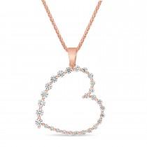 Round Diamond Fashion Pendant 18k Rose Gold (0.60 ct)