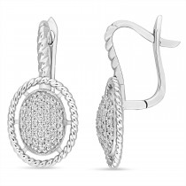 Round Diamond Cuff Earrings 18k White Gold (0.40 ct)