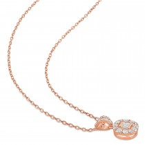 Parallel and Round Diamond Fashion Pendant 18k Rose Gold (0.30 ct)
