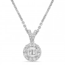 Parallel and Round Diamond Fashion Pendant 18k White Gold (0.30 ct)