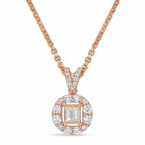 Parallel and Round Diamond Pendant 18k Rose Gold (0.375 ct)