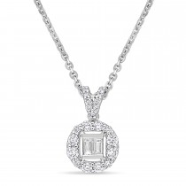 Parallel and Round Diamond Pendant 18k White Gold (0.375 ct)