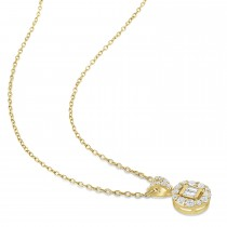 Parallel and Round Diamond Pendant 18k Yellow Gold (0.375 ct)