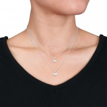 Double Heart Necklace 18k White Gold