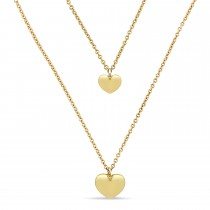 Double Heart Necklace 18k Yellow Gold