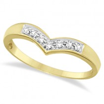Classic Chevron V Shaped Diamond Ring 14k Yellow Gold (0.10ct)