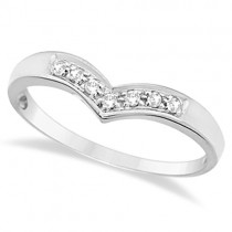 Classic Chevron V Shaped Diamond Ring 14k White Gold (0.10ct)