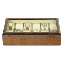 Rapport London The Venice Burr Walnut, 8 Watch Box w/ Glass Top