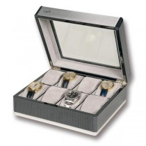 Rapport London F3 Carbon Fiber Collectors 8 Watch Box w/ Glass Lid
