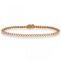 Bezel Set Eternity Diamond Tennis Bracelet 14k Rose Gold (2.00ct)
