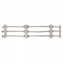3 Strands Bezel Diamonds By The Yard Anklet 14K White Gold (1.00ct)