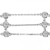 3 Rows Bezel Set Diamond Station Bracelet 14K White Gold (1.00ct)
