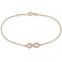 Diamond Sideways Mini Infinity Bracelet in 14k Rose Gold 0.15ct