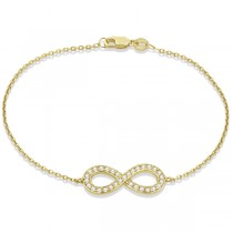 Diamond Sideways Large Infinity Bracelet in 14k Yellow Gold 0.40ct