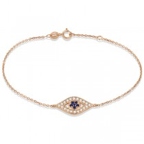 Blue Sapphire Evil Eye Diamond Bracelet in 14k Rose Gold (0.42ct)