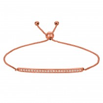 Flexible Rope Friendship Bolo Bar Diamond Bracelet 14k Rose Gold (0.20ct)