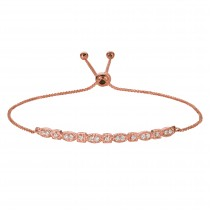 Bolo Marquise and Dot Diamond Bracelet 14k Rose Gold (0.26ct)
