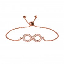 Bolo Diamond Infinity Adjustable Bracelet 14k Rose Gold (0.25ct)