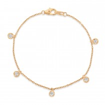 Diamond Dangle Station Bracelet in 14k Rose Gold (0.25 ctw)
