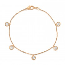Diamond Dangle Station Bracelet in 14k Rose Gold (1.00 ctw)