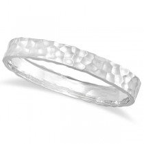 Hammered Stackable Bangle for Women 14k White Gold