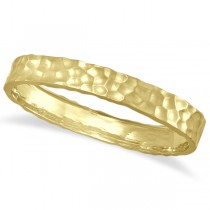 Hammered Stackable Bangle for Women in 14k Yellow Gold