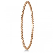 Women's Stackable Plain Metal Beaded Bangle Bracelet in 14k Rose Gold