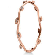 Stackable Diamond Vine Leaf Bangle Bracelet 14k Rose Gold (0.72ct)